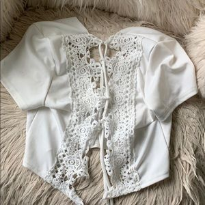 White ribbed lace crop top